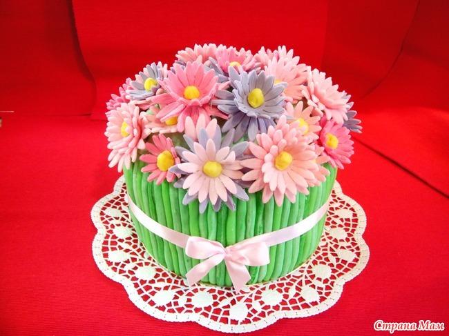 Торт из мастики с цветами своими руками 782