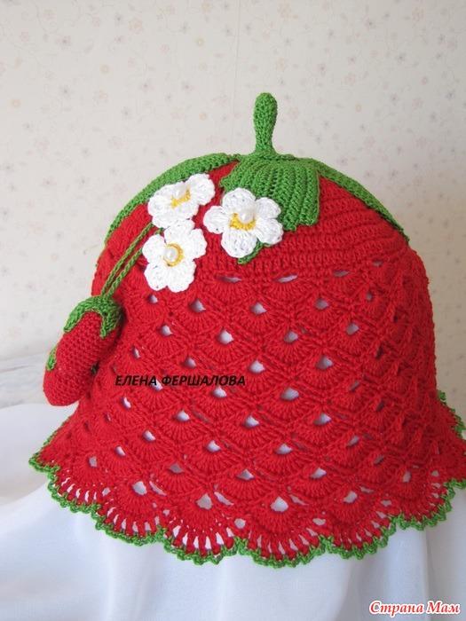 Вязание детских шапочек крючком ягодка