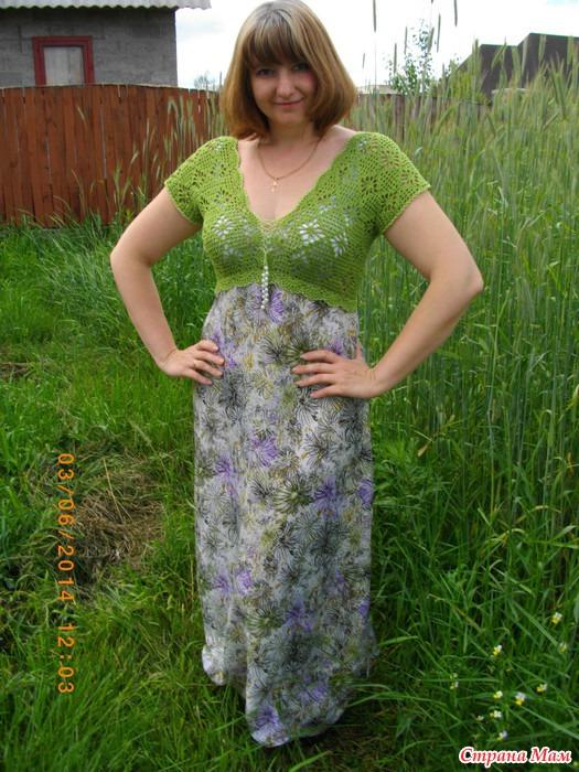 Вязание крючком платья с тканью 616