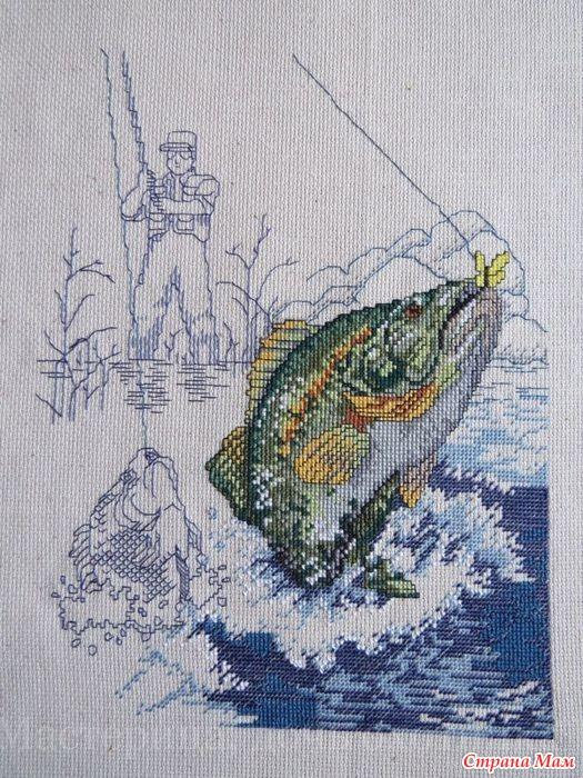 На рыбалке схема вышивки 92