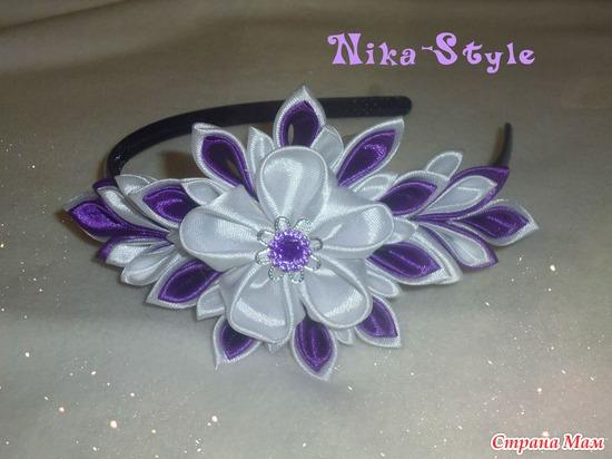 Канзаши в фиолетовом цвете