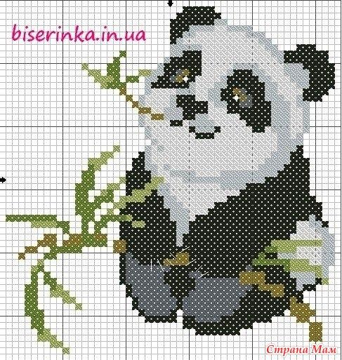 Схема панды на вышивку крестиком