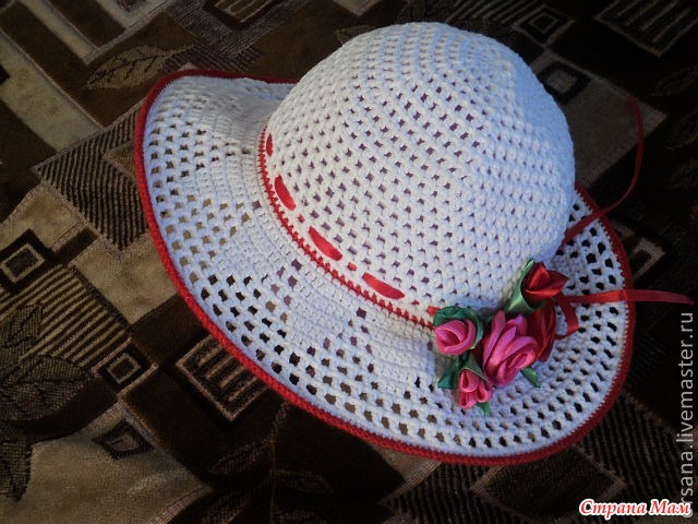 Летняя шляпка крючком своими руками глубина и высота тульи
