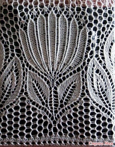 Вязание на спицах ажурные тюльпаны