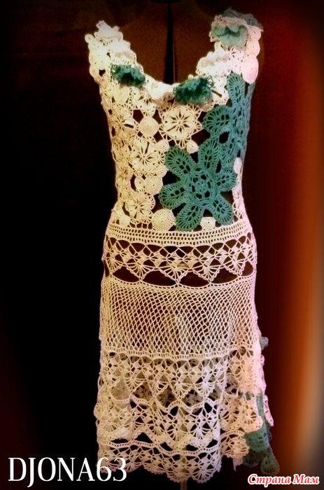 Вязание рукава с ирландским кружевом