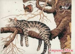 Схема вышивки кота ленивого