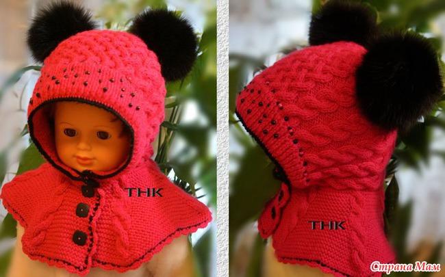 Вязание крючком шапки шлема для девочки 7