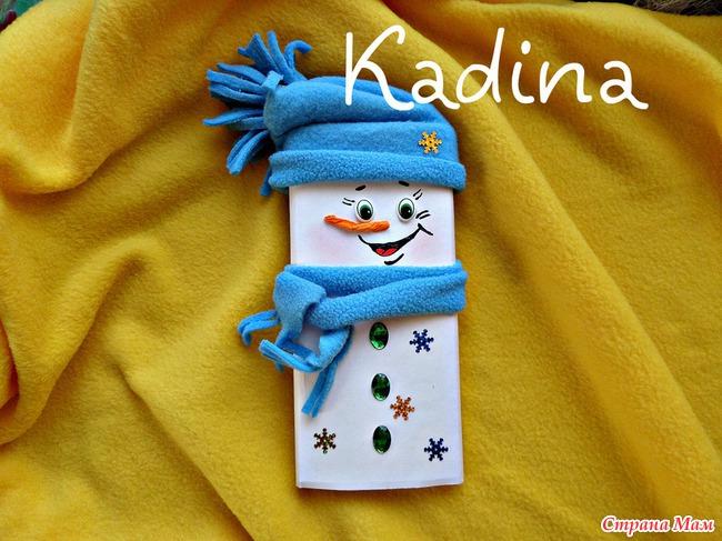 снеговик на шоколадку своими руками