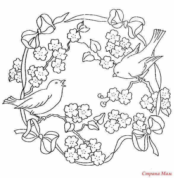 Цветы с птичками и бабочками