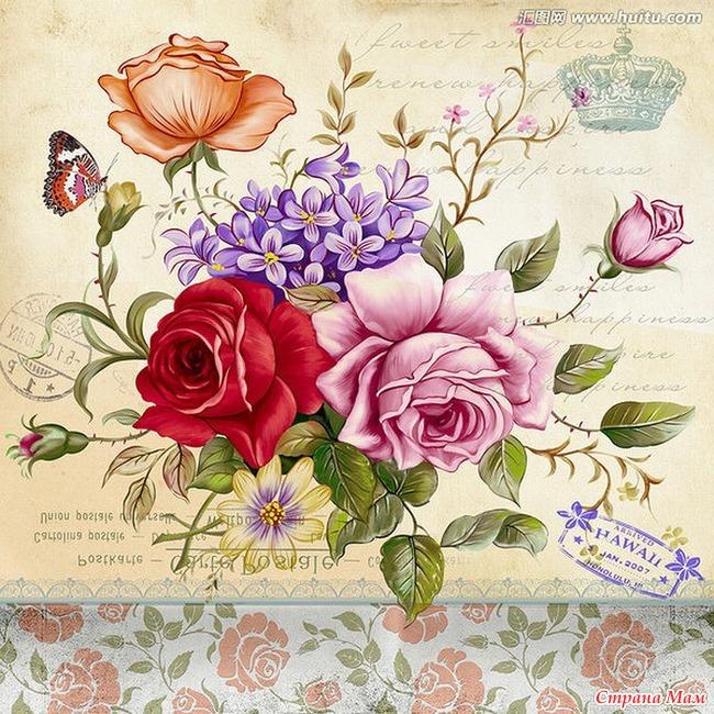 Винтажные картинки цветов для декупажа