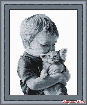 Вышивка мальчик и котенок