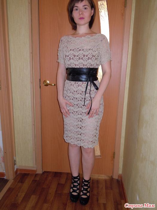 Вязать платье ленточным кружевом 8