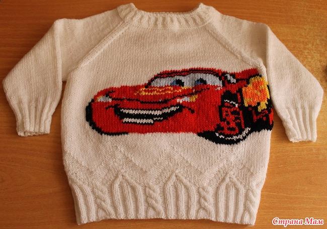 Как связать машинку на свитере для мальчиков