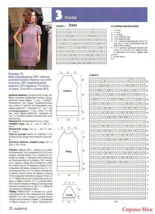 Вязание спицами платье с описанием и схемами фото