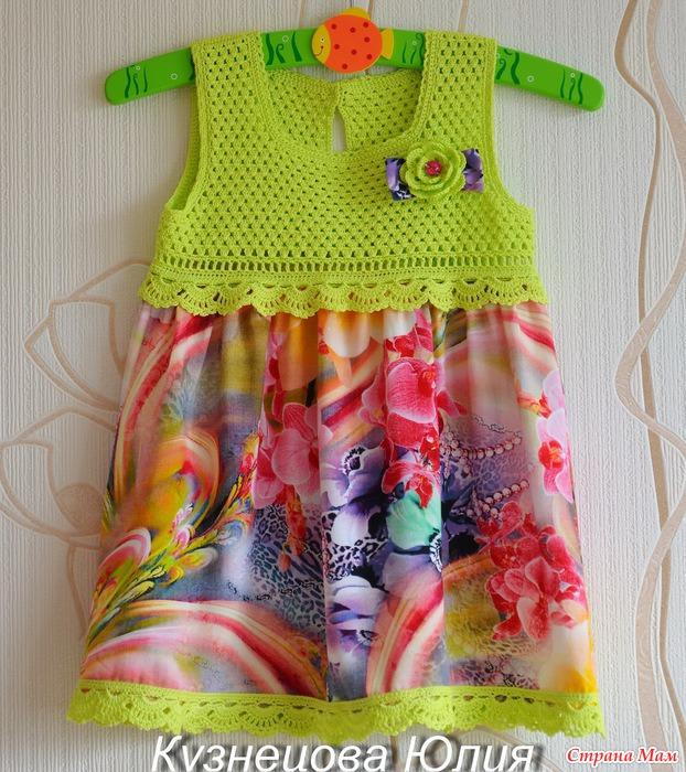 Комбинированные платья вязание крючком и ткань для девочек 83