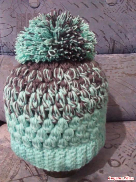 Вязание крючком шапки пышный столбик 8