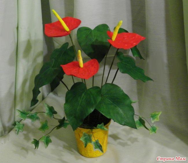 Комнатные цветы из фоамирана мастер класс с пошаговым фото