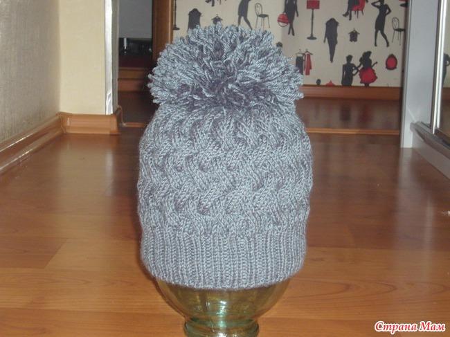 связать шапку плетенкой 3 на 3