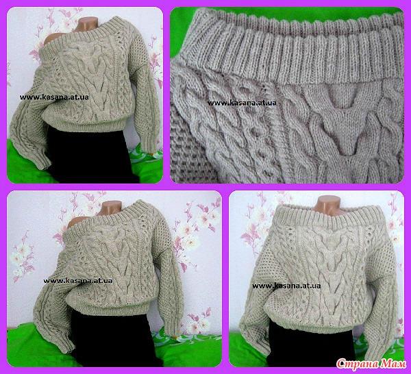 пуловер спицами ruban