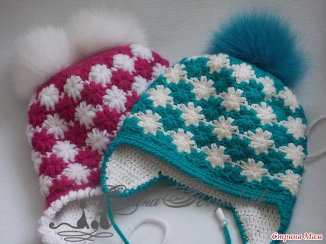 Вязанные теплые двойные шапки спицами 57