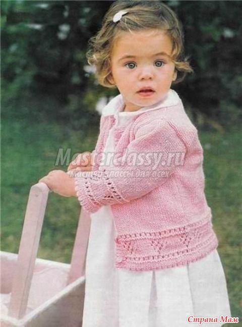 Вязание розовая кофточка девочке