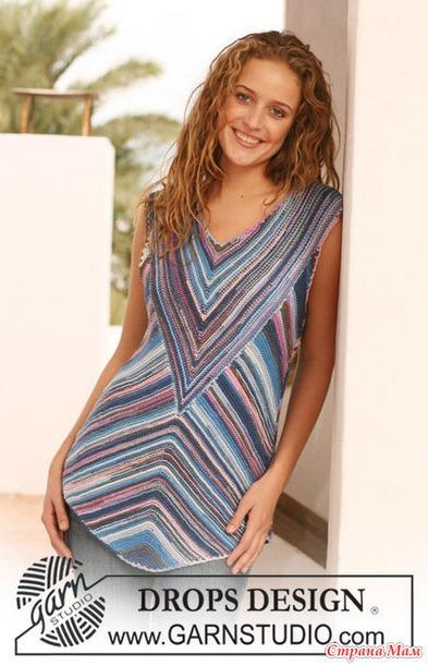Платье секционной пряжи спицами