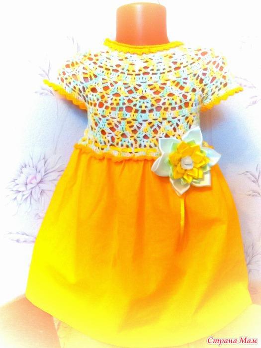 Комбинированные платья вязание крючком и ткань для девочек 8