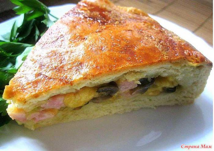 Рецепт пирога с сыром и ветчиной из слоеного теста