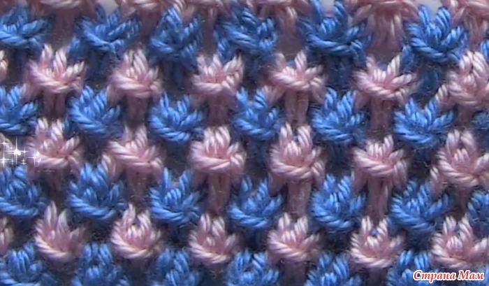 Вязание двухцветных узоров видео
