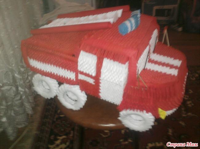 Схемы сборки оригами пожарная машина из модулей оригами