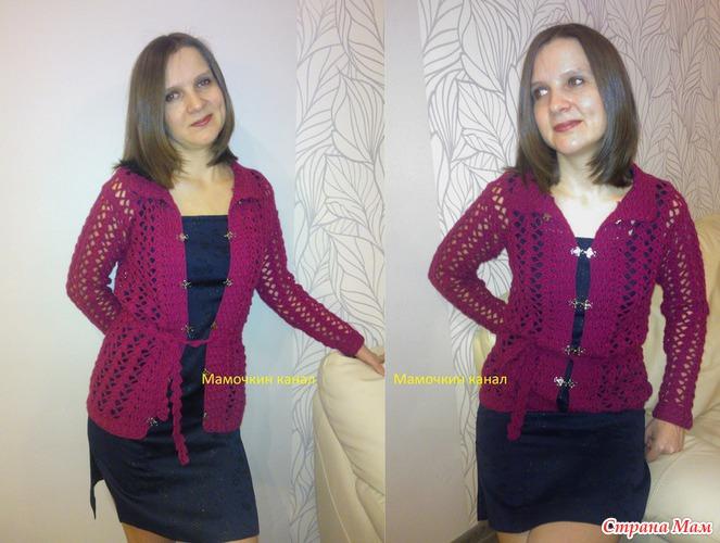 вязание ажурная женская кофта