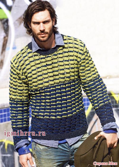 Вязание мужских трехцветных мужских свитеров