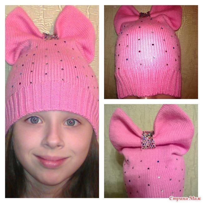 Детская шапочка с бантиком вязание 91