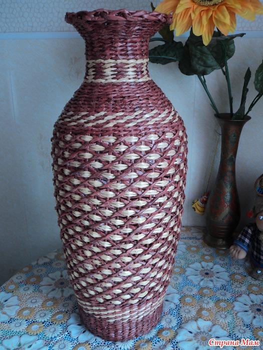 вазы из газетных трубочек