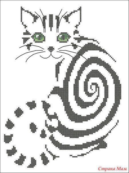 *Ищу схему чб кошка - Вышивка