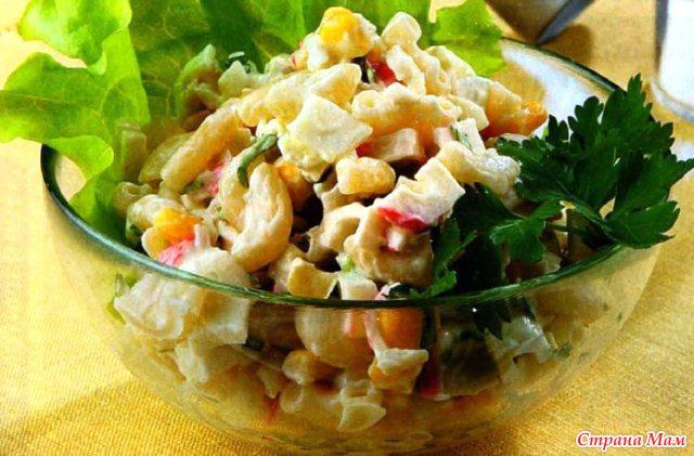 Салат с крабовых с макаронами