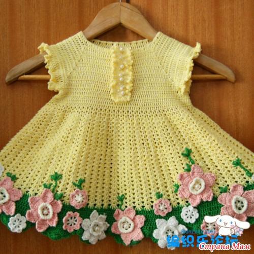 Вязание мелких цветочек на платье детское