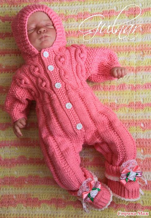 Вязанный комплект для новорожденных с спицами 194
