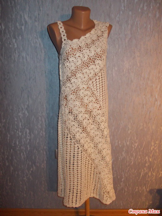 Вязание платье ленточным кружевом 67