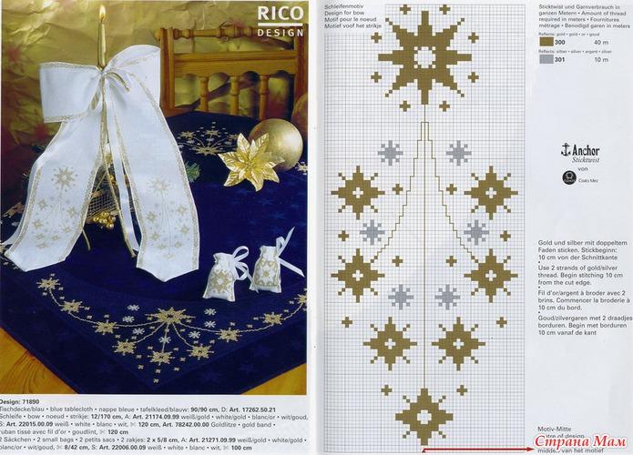 Новогодняя скатерть вышивке крестом