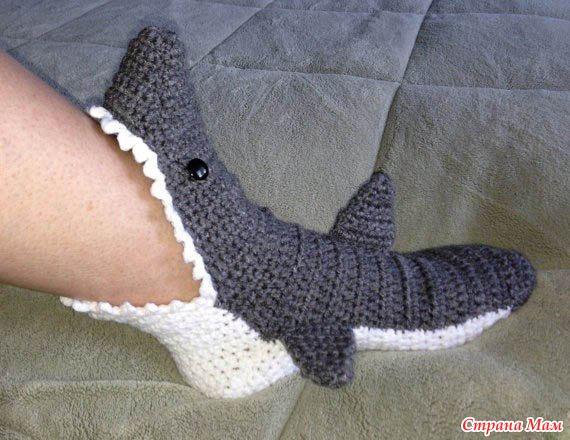 Страна мам вязание крючком носки тапочки схемы