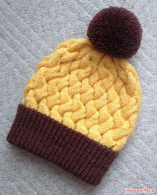 все о шапке узором плетенка