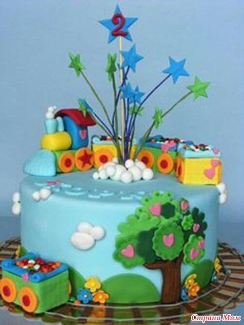 торт для детей паравозик фото