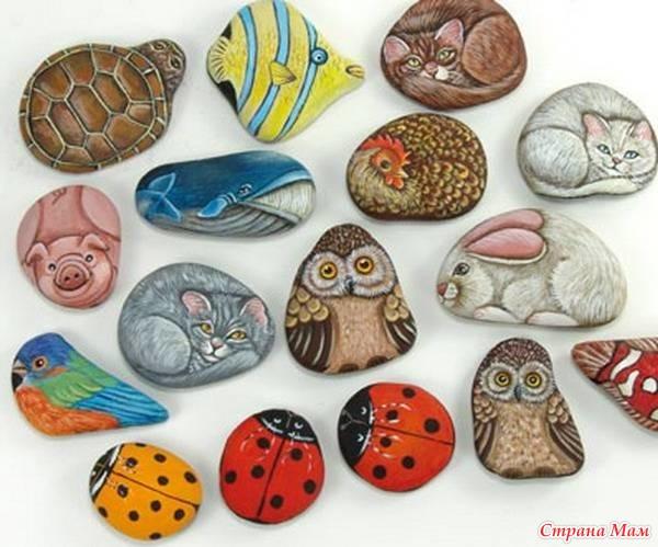рисунки на камнях ёжиков