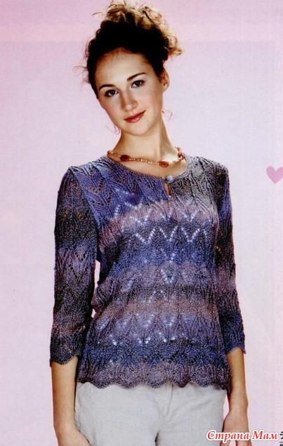 пуловер из пряжи секционного крашения спицами женский