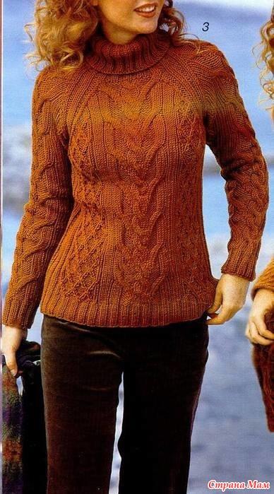 Женский свитер с ирландским вязанием