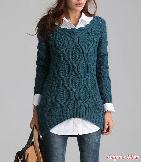 Связать модный женский свитер спицами
