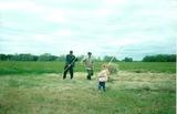 Арина с дедулей и братиком на сенокосе