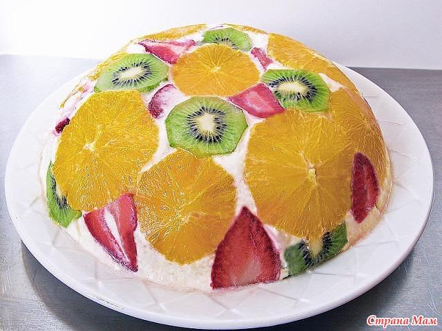 Торты из фруктовы с фото без выпечки из печенья и