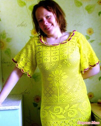 Вязание крючком платья из хлопка 131